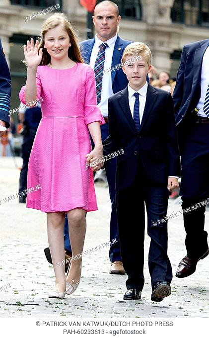 Crown Princess Elisabeth and Prince Emmanuel after the Te Deum mass at the Cathedral of St. Michael and St. Gudula in Brussels, Belgium, 21 July 2015