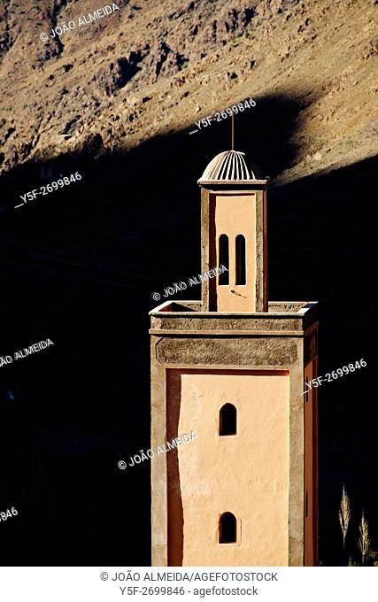 The tower of one of the mosques around Imlil