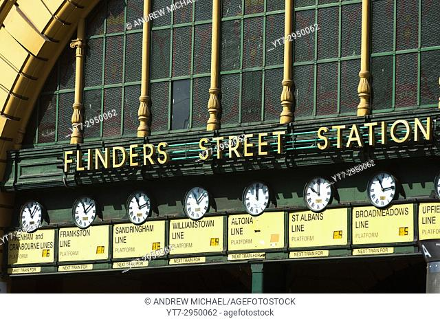 Clocks at entrance of Flinders street railway station, Melbourne, Victoria, Australia