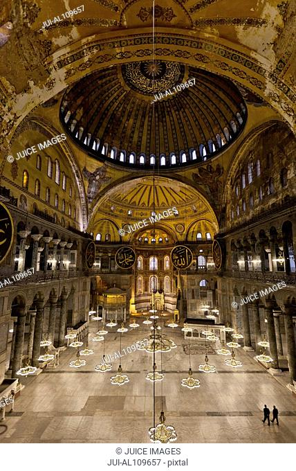 Interior view of the Hagia Sophia, Istanbul, Turkey