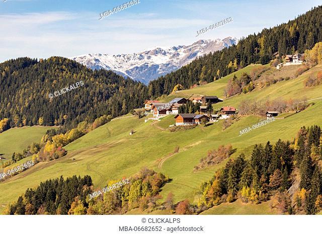 Autumnal landscape. Santa Maddalena, Val di Funes, Bolzano, Trentino Alto Adige - Sudtirol, Italy, Europe