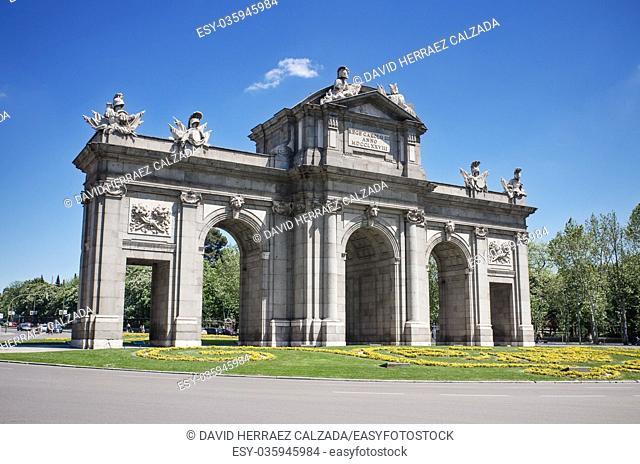 Famous landmark Puerta de Alcalá in Madrid, Spain