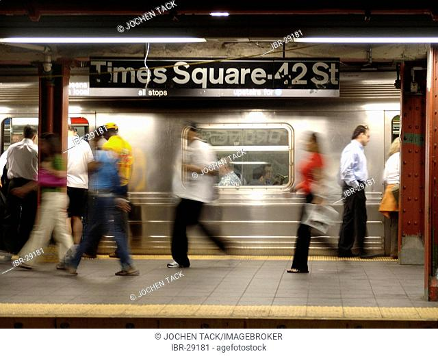 USA, United States of America, New York City: New York Subway. Subway station imes Square, 42nd Street