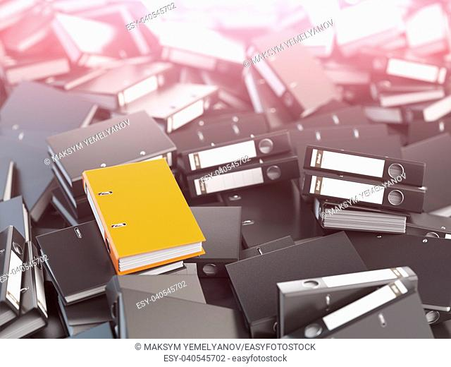 One orange office binder and pile of black others. Archive. File searching concept. 3d illustration