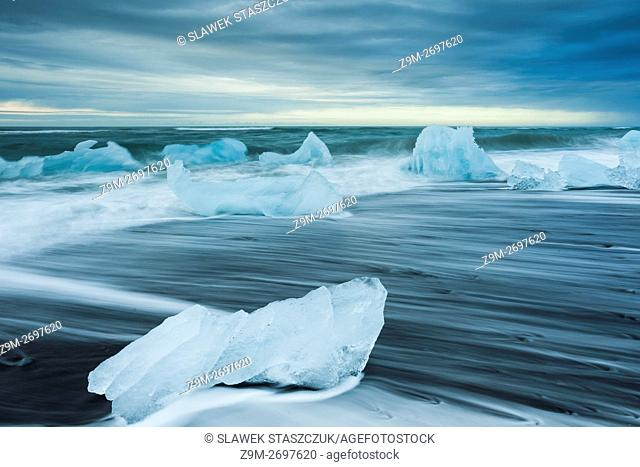Ice blocks on the black beach at Jokulsarlon, Iceland