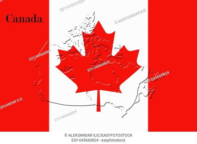 Canadian National Flag With Map Of Canada On It in Red And White Colors
