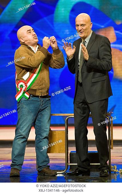 08 02 2011, Milan, Zelig telecast  Paolo Cevoli and Claudio Bisio