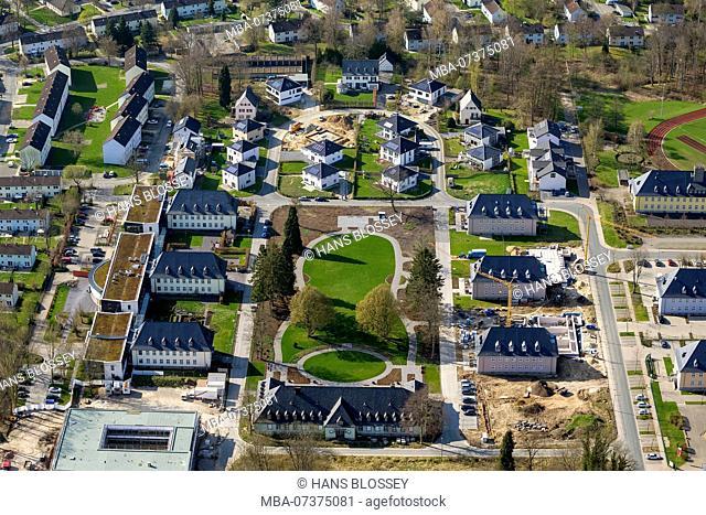 Development area, one-family houses, Walter-Bröker-Ring, aerial photograph of Detmold