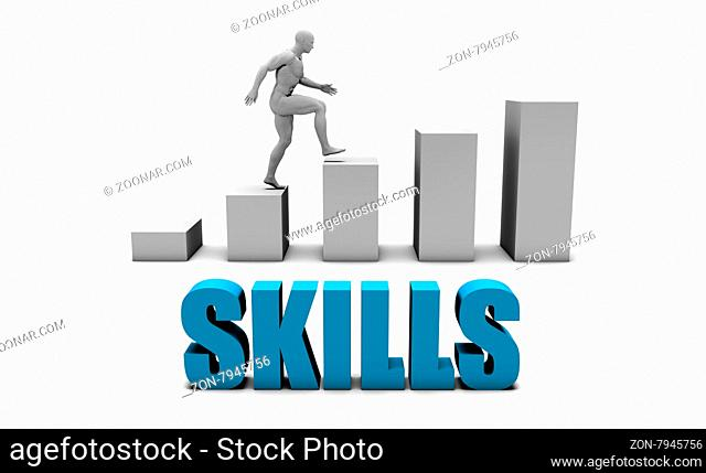 Skills 3D Concept in Blue with Bar Chart Graph