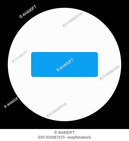 Minus icon from Primitive Round Buttons OverColor Set. This round flat button is drawn with blue and white colors on a black background
