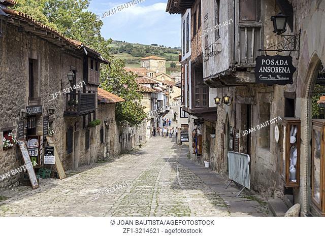 Typical street in touristic village of Santillana del Mar, province Santander, Cantabria, Spain