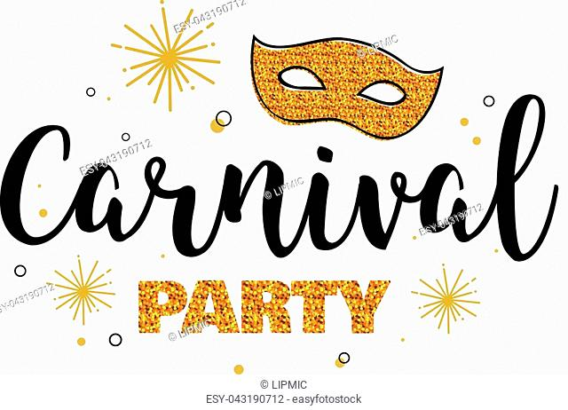 carnival party. template design with glitter gold mask. vector illustration