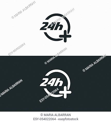 24 hours service icon. Pharmacy open symbol. Isolated vector illustration