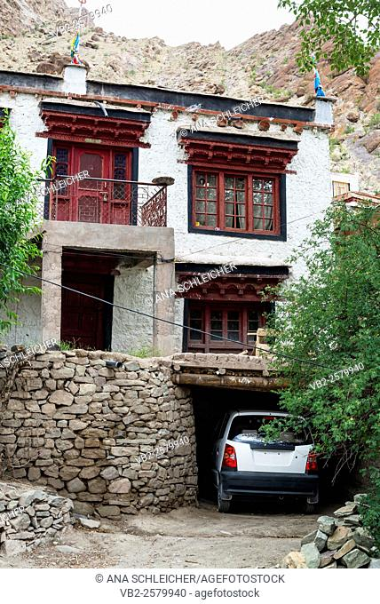Car parked at a monks house. Hemis gompa. Indus valley, Ladakh (india)