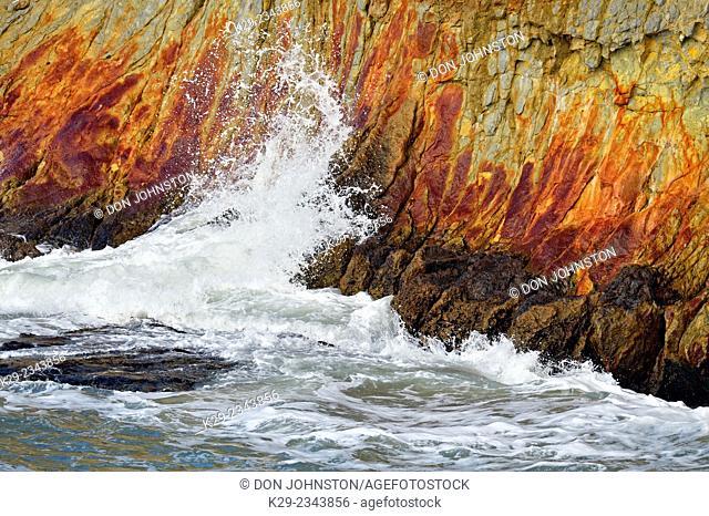 Cliffs with crashing surf, Pismo Beach, California, USA