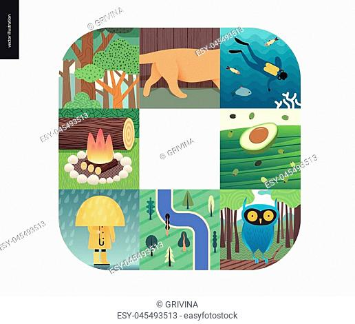Simple things - color - flat cartoon vector illustration of trees, cat, fish, scuba diver, ocean sea, avocado, olives, fireplace wood, rain, yellow raincoat