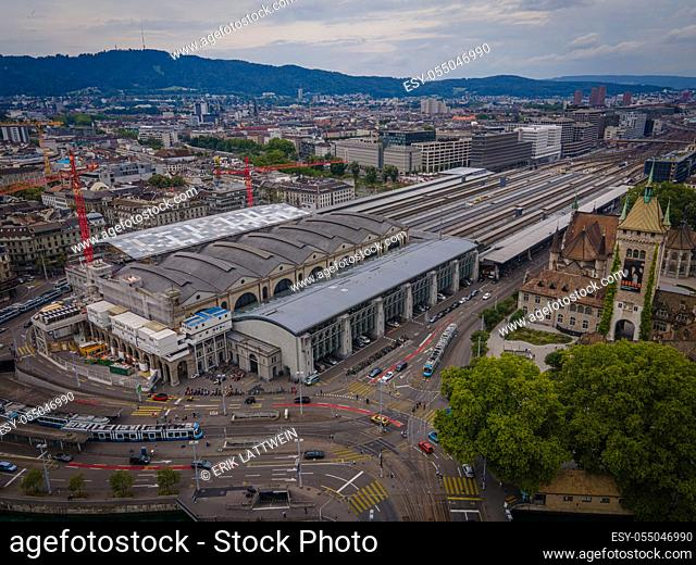 Zurich central train station drom above - drone footage
