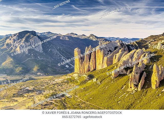 Mallos de Riglos at sunset, Riglos, La Hoya, Huesca, Spain