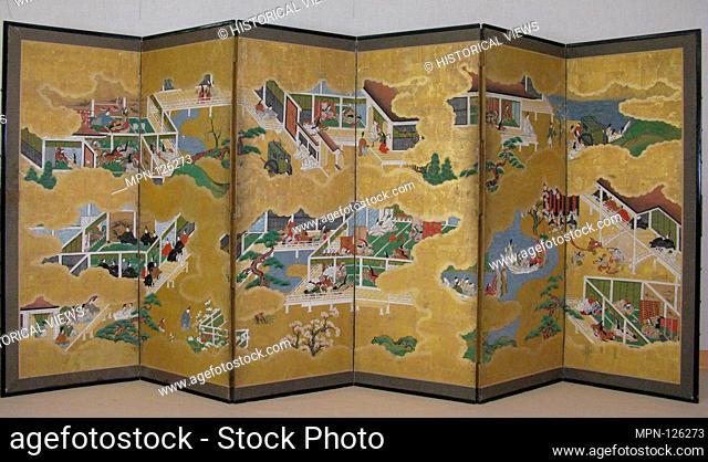 Scenes from the Tale of Genji. Period: Edo period (1615-1868); Date: 17th century; Culture: Japan; Medium: Six-panel folding screen; ink, color