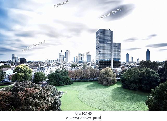Germany, Hesse, Frankfurt, view to city, long exposure