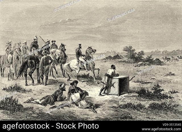 Antelope hunting in Vadodara (Baroda). Gujarat, India. Old engraving illustration from El Mundo en la Mano 1878