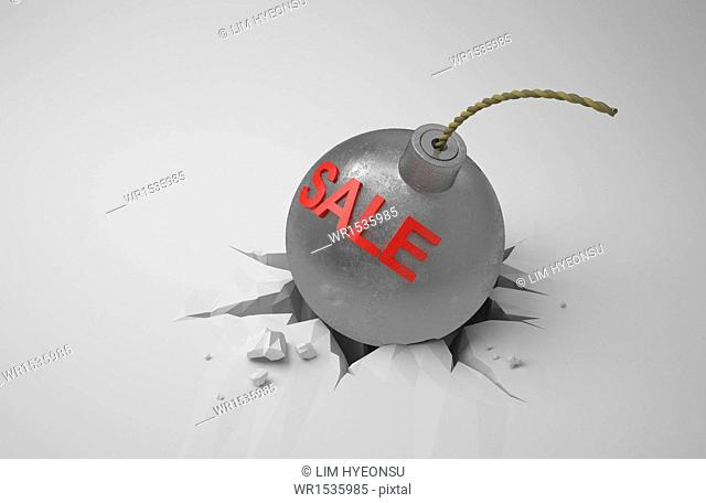 a bomb with the word sale on it