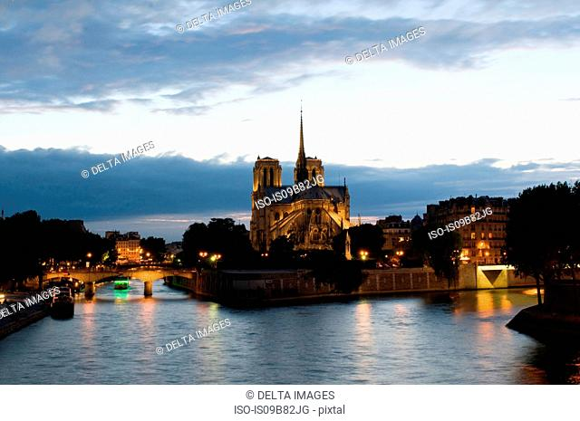 Notre Dame Cathedral at dusk, Paris, France