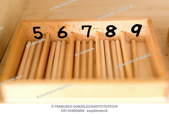 Number games for children made of wood