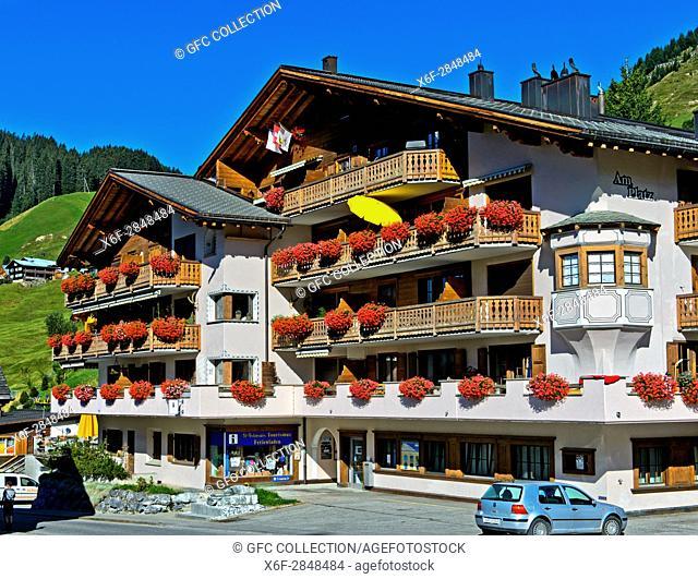 Building housing the local tourism office Ferienladen St. Antönien, St. Antönien. Prättigau region, Graubünden, Grisons, Switzerland