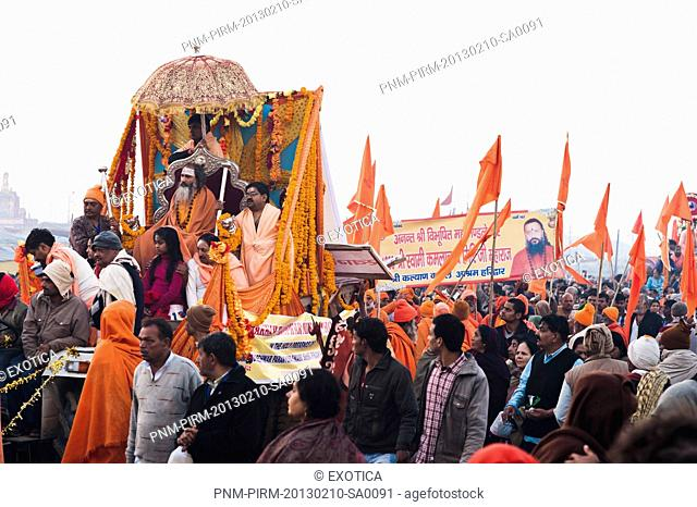 Sadhus at the royal bath procession at Maha Kumbh, Allahabad, Uttar Pradesh, India