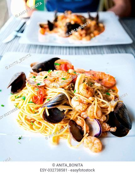 tasty italian Frutti Di Mare pasta with variety of seafood