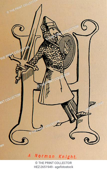 'A Norman Knight', c1860, (c1860). From The Comic History of England, Volume I, by Gilbert A A'Beckett. [Bradbury, Agnew, & Co., London]