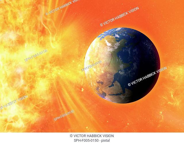 Solar flare hitting Earth, artwork