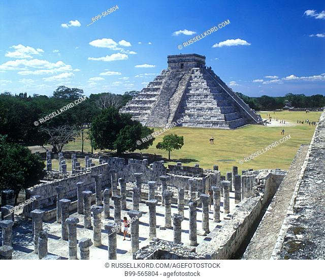 Court Of A Thousand Columns, El Castillo (Kukulkan) Pyramid, Chichen Itza Ruins, Yucatán, Mexico