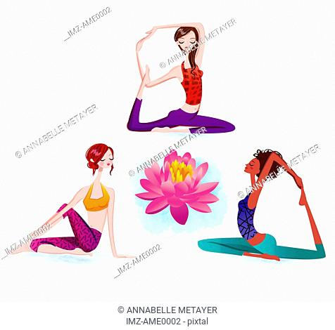 Women in various yoga positions