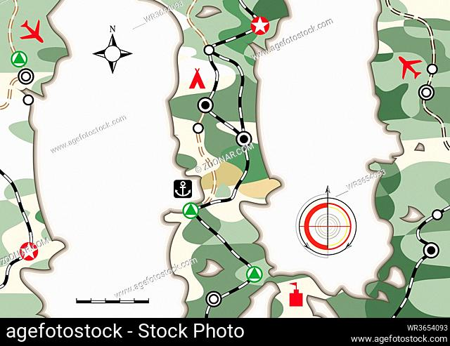 Military Navigation Map. Cartographic infographic booklet with camouflage pattern. Card layout, cartoon background