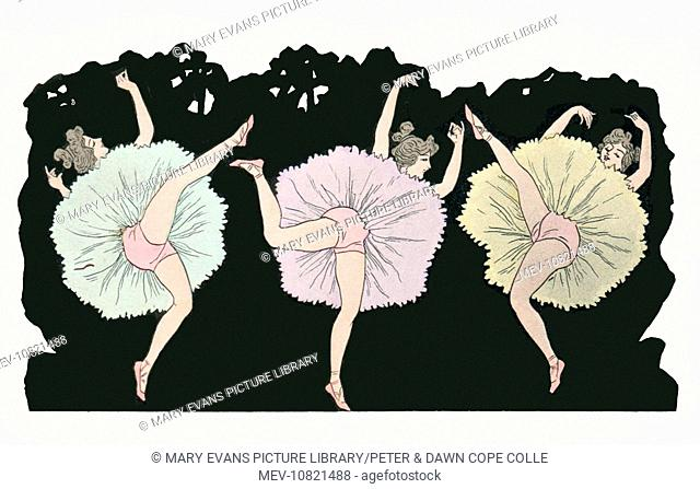 Caricature of can-can dancers. Artist: Anon