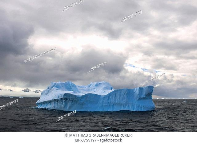 Iceberg floating in the South Atlantic Ocean, Weddell Sea, Antarctic Peninsula, Antarctica