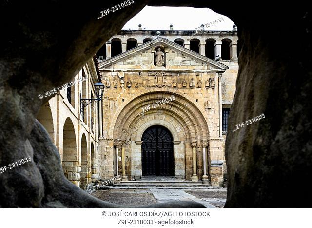 Portico of the church of Santa Juliana, Santillana del Mar, Cantabria Spain