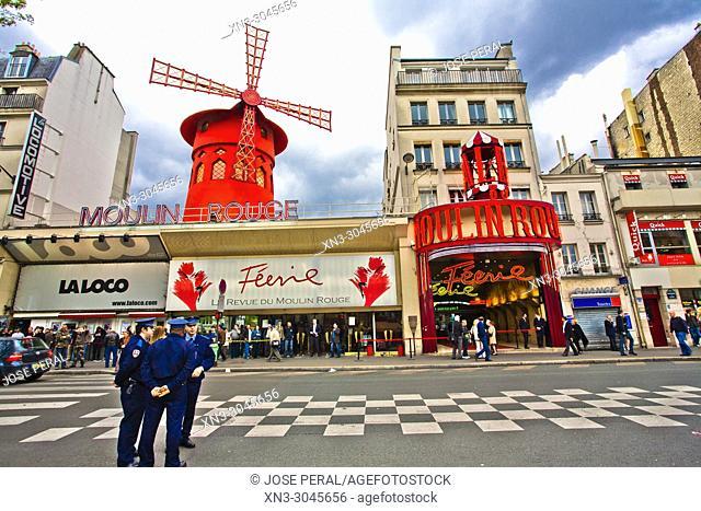 Police, Moulin Rouge cabaret, Boulevard de Clichy in the 18th arrondissement, Paris, France, Europe