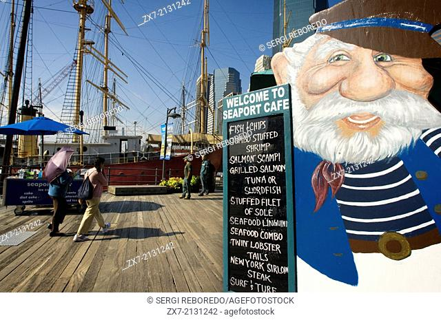 Seaport Cafe Restaurant in the Seaport. Pier 16 and 17. South Street Seaport Historic District in New York City. Here is also a three-story shopping center that...