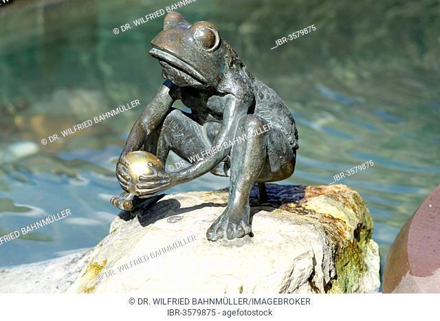 Frog Prince, fairy tale fountain, Steinau an der Straße, Hesse, Germany