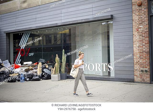 Debris and trash from the cleaned out and closed Ports 1961 clothing store in the Meatpacking District in New York on Monday, July 24, 2017