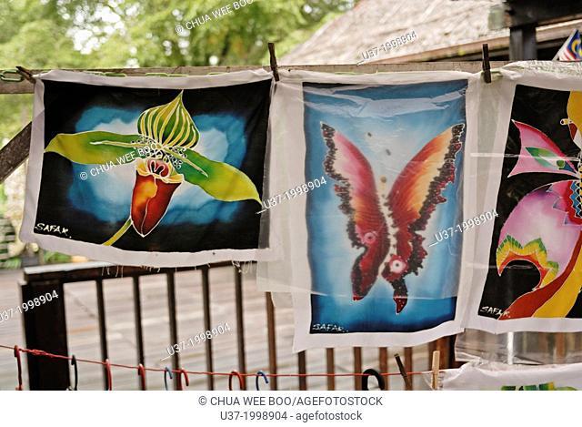 Batik painting for sale at Sarawak Cultural Village. Borneo. Malaysia