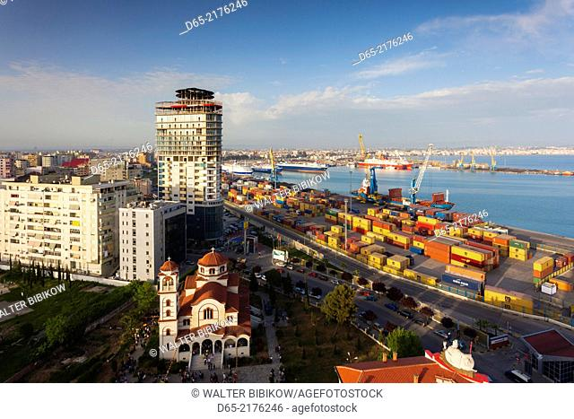 Albania, Durres, elevated port view