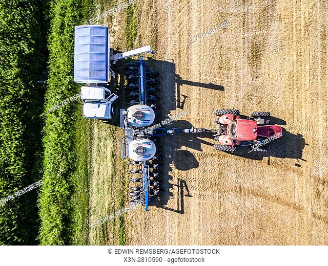 Aerial view of a planter refilling its seeds on a farm located in Federalsburg, Maryland