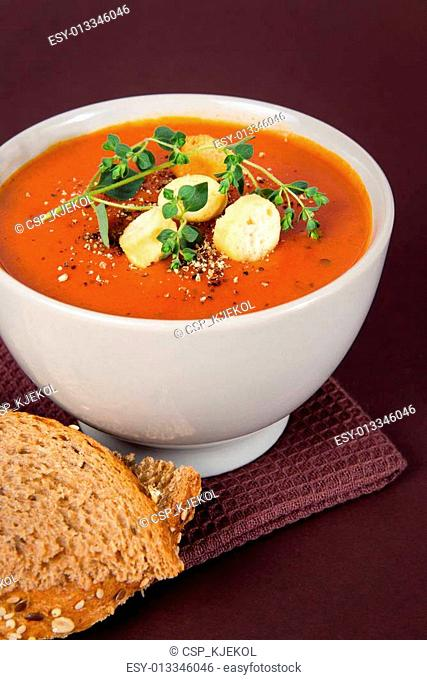 Tomato Soup with Croutons and Herbs