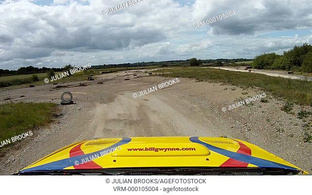 High speed Rally cornering - Subaru Impreza, roof shot - pov