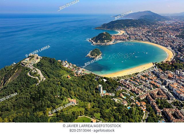 Aerial view. La Concha Bay. Donostia. San Sebastian. Gipuzkoa. Basque Country. Spain