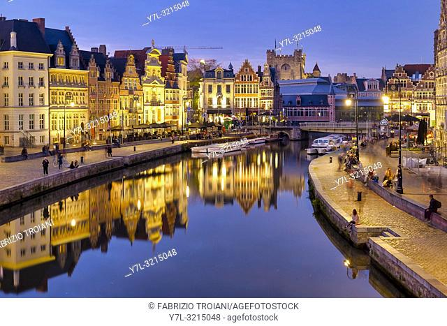 Korenlei and Graslei, quays in the historic city center of Ghent, Flanders, Belgium